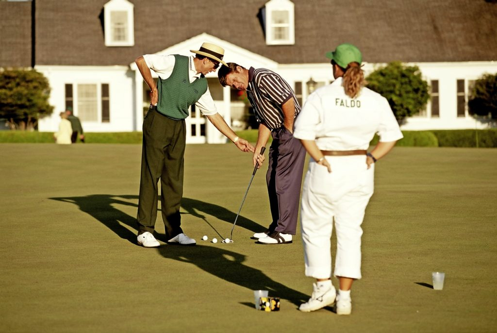 David Leadbetter e Nick Faldo sul putt